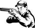 Shooter aiming with shotgun grayscale illustration Royalty Free Stock Photo