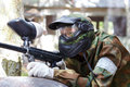 Shooter in paintball mask outdoors summer Royalty Free Stock Photography