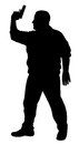 Shooter vector illustration of silhouette Stock Photography