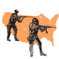 Shooting america hand drawn sketch silhouettes of men in hoods armed automatic guns and firing usa silhouettes in background Stock Images