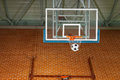 Shooting a basketball goal with a soccer ball Royalty Free Stock Photo
