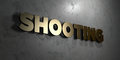 Shooting - Gold sign mounted on glossy marble wall - 3D rendered royalty free stock illustration