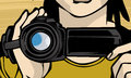Shooting with handy cam banner illustration of a photographer video camera done in comic book style Stock Photography
