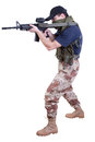 Shooting mercenary isolated on white Royalty Free Stock Images