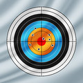 Shooting paper target pierced by bullets waving in the wind Royalty Free Stock Photography
