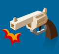 Shooting revolver bam vector illustration Stock Images