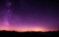 Shooting Star during Nighttime With Purple Sky Royalty Free Stock Photos
