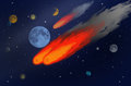Shooting stars with planets and spheres in the dark sky Royalty Free Stock Photo