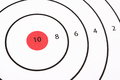 Shooting target bullseye close up of a with a red and a maximum score of ten Stock Image
