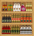 Shop alcoholic beverages vector store shelf with bottles of alcohol Royalty Free Stock Photo