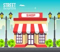 Shop building in city space with road on flat syle background concept. Vector illustration design