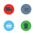 Shop buttons purchase icons vector set.