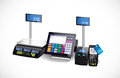 Shop cash register, printer and card payment terminal