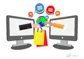 Shop concept with ecommerce icons design,  illustration eps 10 Royalty Free Stock Photo