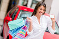 Shop with credit card and win a car happy woman shoppping to Royalty Free Stock Photos