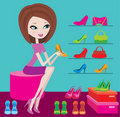 Shop of female footwear Royalty Free Stock Photo