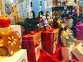 A shop before festival small at the corner of street becomes adorable festivals lot of gifts in the windows Royalty Free Stock Photo