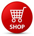 Shop red round button Royalty Free Stock Photo