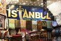 Shop in istanbul bazaar textile and pottery for sale the grand bazzar Stock Images