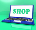 Shop laptop shows purchase from store online showing Royalty Free Stock Image