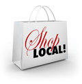 Shop local support community shopping bag words the on a white encouraging you to your or hometown by buying merchandise in Stock Images