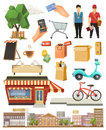 Shop, low poly vector icon set Royalty Free Stock Photo