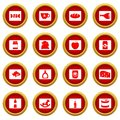 Shop navigation foods icon red circle set Royalty Free Stock Photo