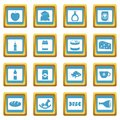 Shop navigation foods icons azure Royalty Free Stock Photo