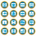 Shop navigation foods icons blue circle set Royalty Free Stock Photo