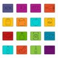 Shop navigation foods icons doodle set Royalty Free Stock Photo
