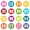 Shop navigation foods icons many colors set Royalty Free Stock Photo