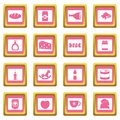 Shop navigation foods icons pink Royalty Free Stock Photo