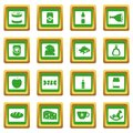 Shop navigation foods icons set green Royalty Free Stock Photo
