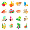 Shop navigation foods icons set, isometric style Royalty Free Stock Photo