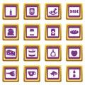 Shop navigation foods icons set purple