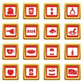 Shop navigation foods icons set red Royalty Free Stock Photo