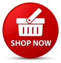 Shop now red round button Royalty Free Stock Photo