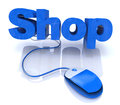 Shop online in the design of information related to internet Royalty Free Stock Photos