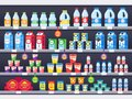 Shop shelf with milk products. Dairy grocery store shelves, milk bottle supermarket showcase and cheese product vector Royalty Free Stock Photo