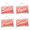 Shop signs detailed illustration of red with information Royalty Free Stock Photo