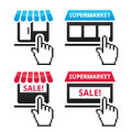 Shop supermarket sale icons with cursor hand icon vecotr set of shops isolated on white shopping online conecept Royalty Free Stock Images