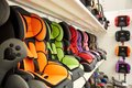 Shop of various automobile children`s armchairs Royalty Free Stock Photo