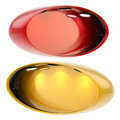 Shop window copyspace showcase isolated oval red and orange with backlight illumination set of two on white Stock Photos
