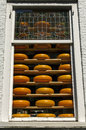 Shop window full of round dutch cheeses delft netherlands in the street market in the tourist town is a cheese in the are rows on Stock Photo