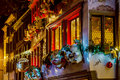 Shop-window and street decoration of Strasbourg before Christmas Royalty Free Stock Photo