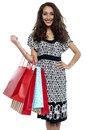 Shopaholic brunette carrying vibrant color bags Royalty Free Stock Images
