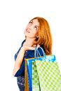 Shopaholic dreams of purchases on a white background Stock Photo