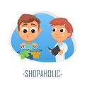 Shopaholic medical concept. Vector illustration.