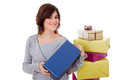 Shopaholic young woman with lots of boxes on white Stock Image