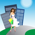 Shoping girl white dress bags Royalty Free Stock Photos
